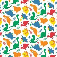 Fabric Baby Dinosaurs on White Flannel 1 Yard