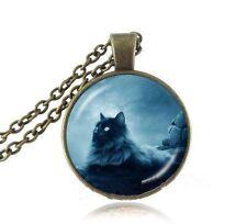 Vintage Cat Cabochon bronze Glass Chain Pendant Necklace @G66