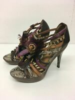 WOMENS OFFICE BROWN MULTI LEATHER FEATHER PLATFORM HIGH HEEL SHOES UK 8 EU 41