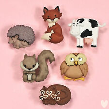 DRESS IT UP Buttons Outdoor Friends 9066 - Squirrel Hedgehog Owl Fox Cow Cat