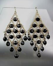 EXQUISITE Black Onyx Gemstone Gold Chandelier Artisanal Peruvian Earrings