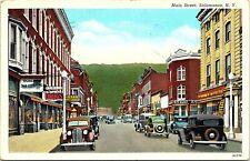 Postcard NY Salamanca Main Street - Old Cars, Drug Stores - RARE - 1941 A2