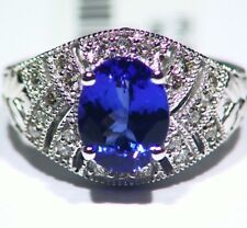 3.00ct KT 14k ORO Tanzanita Natural Diamante Vintage AAA Anillo Compromiso Boda