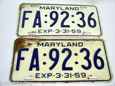 1959 LICENSE PLATES MD MARYLAND MATCHED PAIR White & Blue FA:92:36