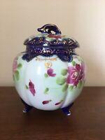 """""""Meiji"""" Floral Footed Tea Ginger Jar Cobalt Blue & Gold Hand Painted Japan"""