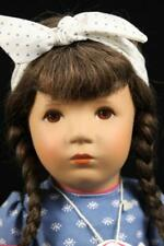 "German Kathe Kruse Puppe Jeanette 35H Doll 1981 Cloth Body 15"" Human Hair MIB"