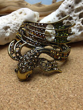 KOI FISH  Lady BIG BANGLE CUFF Gold BRACELET w/ Champagne Peridot Citrine STONES