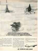 1977 Original Advertising' Vintage American Korean Air Lines Paris-Seoul Direct