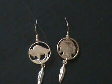 Hand Cut Indian Head Nickel each side cut and Made into Earrings