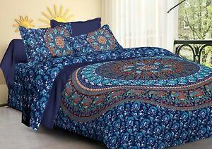 Indian Bohemian Blue Elephant Mandala Bedding King Bedding Hippie Bedspread Set
