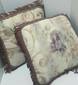CROSCILL Chambord Cassis Decorative Bed Pillow w/Fringe Purple Floral 2