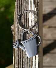 Flower Watering Can Silver Tone Metal Keychain National Home Gardening Club