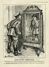 VINTAGE WW 2 PROPAGANDA CARTOON - HITLER IN THE LOOKING GLASS - ASKED TO RESIGN