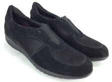 Munro Sport Olympia Slip-On Sneakers Shoes  - Black Leather Womens 6 Narrow 6N