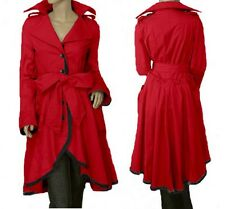 Oversized Loose Casual Belted long Trench Coat TFMJ018 plus Size 3X 4X red