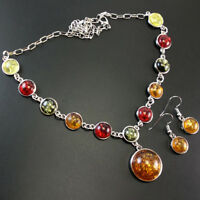 BALTIC AMBER GEMSTONE 925 STERLING SILVER OVERLAY HANDMADE NECKLACE #SJNK-1023