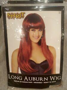 Spirit Long Auburn Wig Halloween Cosplay Theater Red Hair