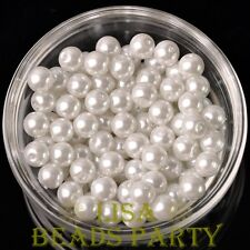 144pcs 8mm Round Czech Glass Pearl Loose Spacer Beads Pure White