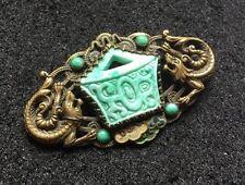 Revival Faux Jade Dragon Glass Brooch Original Art Deco Czech Max Neiger Chinese