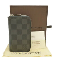 Auth LOUIS VUITTON Zippy Coin Purse Vertical Damier Graphite N63076 #S206061
