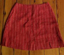 """Vtg Guess Collection 100% Linen Pinstripe A-Line Button Frnt Skirt 26"""" Waist USA"""