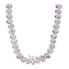 Free Shipping 50Pcs 8x6mm Faceted Glass Loose Spacer Beads Flat Round Findings