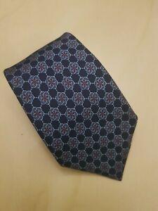 Hermes 100% authentic Silk Tie Blue 7160 FA Interlocking Floral Pattern