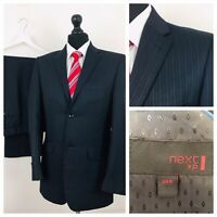 Next Mens Suit 38R 32W 31L Black Pinstripe Formal Business  YE312