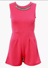 *BNWT* Pink Neon Playsuit. Size 8 Sleeveless. Bodycon. Diamonte Necklace