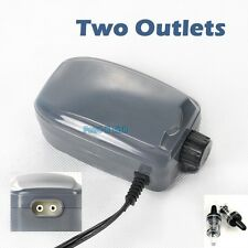 Two Outlets Adjustable Air Pump Up to 120 Gallon Aquarium 48GPH FREE Check Valve