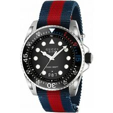 OROLOGIO UOMO GUCCI XL DIVE MAN WATCH YA136210 nato strap nylon blu SWISS made