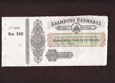 Aramburu Hermanos,500 Reales Vellon banknote Cádiz ,Spain P-S151, 1870   AU