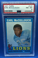 1971 TOPPS FOOTBALL #127 EARL McCULLOUCH PSA 8 NM-MT DETROIT LIONS