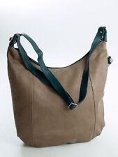 Ital. Damentasche Schultertasche Crossbody Bag echt Leder Taupe Petrol  565TB