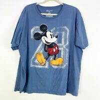 Disney Parks Mens XXL Blue Mickey Mouse Casual Tee Short Sleeve Crew Neck Cotton