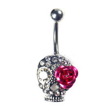 Belly Button Rings Skull  Flower Jewelry Navel Bar Body Piercing
