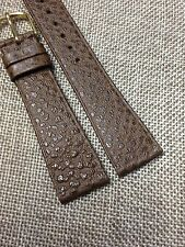 20mm BROWN STRAP Vintage HIRSCH SADDLE LEATHER  Men's WATCH BAND  w/ Gold Buckle