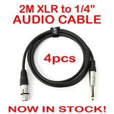 "4x 2-Metre QUALITY XLR Female to Male 1/4"" Microphone Link Cable Lead Cord PA 2M"