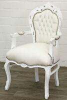 Poltrona barocco in legno di faccio Luigi XVI laccata bianca eco-pelle Luxury