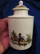 *18th C Soft Paste Porcelain English Tea Caddy Enamel Rural Figural Scene