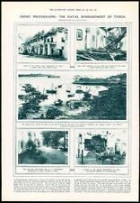1916-antica stampa Tanzania Tanga NAVALI BOMBARDAMENTO CONCHIGLIE Harbour (142)