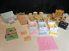 Calico Critters Sylvanian Families Bedroom Kitchen Furniture Lot - Beds Chairs