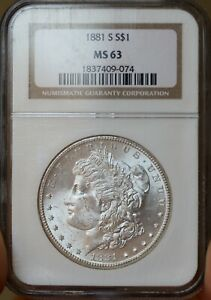 1881 S Morgan Silver Dollar - MS63 NGC - Clean and Bright