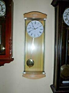 WALL CLOCK  quartz  glass  with pine case  working pendulum