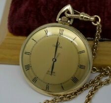 Vintage Omega De Ville Quartz Pocket Watch - Gold Filled w/ Chain - Serviced
