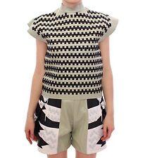 NWT MARTINA SPETLOVA Green Black Nappa Leather Top Zipper Vest IT40/US6 /S