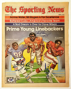 LAWRENCE TAYLOR HUGH GREEN E J JUNIOR Signed August 1981 Sporting News PSA/DNA
