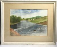 Watercolour Of A River Waterfall Farmyard Mounted And Framed Painting