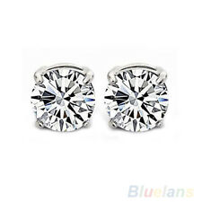 1Pair Unisex No Piercing 4 Claws Clear Rhinestone Magnet Stud Earrings Candy