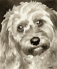 Chinese Crested Art Print Sepia Watercolor 11 x 14 by Artist DJR